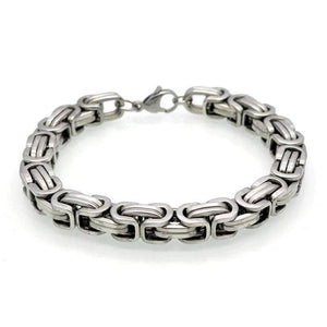 Mens Silver Stainless Steel Byzantine Chain Bracelet 9in 8mm