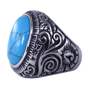 Men's Silver Turquoise Stainless Steel Ring w/Southwestern Relief