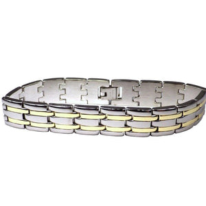 Men's Stainless Steel Link Bracelet With Twin Gold Pinstripes