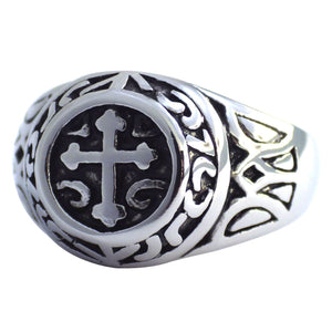Men's Stainless Steel Medieval Cross Signet Ring