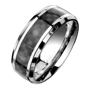 Men's Stainless Steel Ring with Black Carbon Fiber Inlay