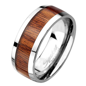 Men's Titanium Ring with Hawaiian Koa Wood Inlay