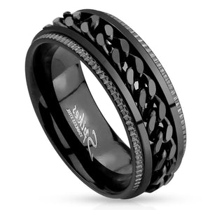 Men's Total Blackout Stainless Steel Chain Spinner Ring