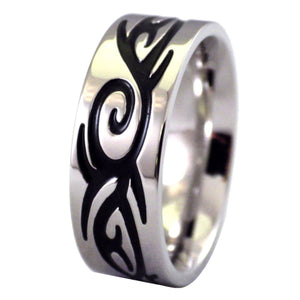 Men's Tribal Tattoo Stainless Steel Ring