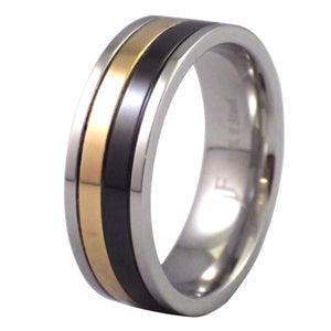 Men's Triple-Tone Gold, Black, and Stainless Steel Ring