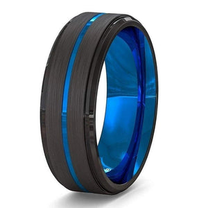 Minimalist Dark Navy Blue Ring Stainless Steel Black Wedding Band