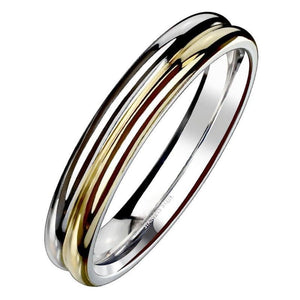 Minimalist Gold Wedding Band Silver Stainless Steel Promise Ring