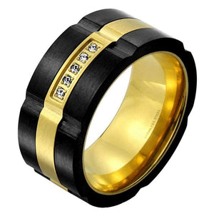 Modern Black Gold Spinner Ring Mens Stainless Steel Anti Anxiety Band