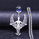 Moon Goddess Necklace Stainless Steel Rhiannon Wicca Pagan Pendant