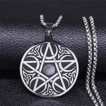 Moon Pentacle Pendant Stainless Steel Crescent Star Protection Necklace