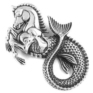 Mythological Hippocampus Necklace Stainless Steel Nautical Seahorse Pendant