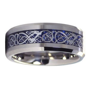 Nordic Viking Celtic Knot Tungsten Dragon Ring With Ice Blue Carbon Fiber