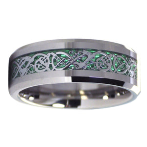 Nordic Viking Celtic Knot Tungsten Dragon Ring With Green Carbon Fiber Inlay