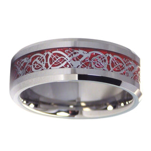 Nordic Viking Celtic Knot Tungsten Dragon Ring With Red Carbon Fiber
