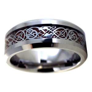 Nordic Viking Celtic Knot Tungsten Dragon Ring - Wood Wedding Band