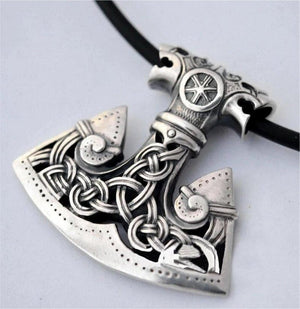 Norse Axe Necklace Silver Stainless Steel Viking Ax Pendant