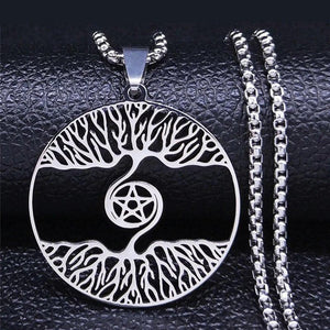 Norse Yggdrasil Pentacle Necklace Stainless Steel Viking Tree of Life Pendant