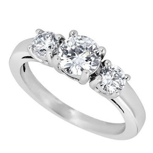 Past Present Future April Birthstone Ring - White Diamond CZ Stone