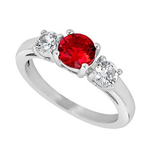 Past Present Future July Birthstone Ring - Ruby Red CZ Stone