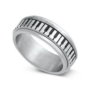 Piano Keys Spinner Ring Silver Stainless Steel Keyboard Band