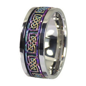 Rainbow Celtic Knot Stainless Steel Spinner Ring