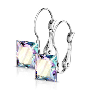 Rainbow Cubic Zirconia Drop Earrings Hypoallergenic Surgical Stainless Steel