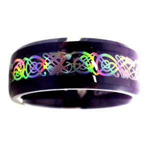 Rainbow Hologram Celtic Dragon Ring - Black Tungsten Wedding Band