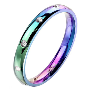 Rainbow Stainless Steel CZ Stone Wedding Band