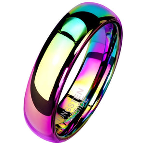 Rainbow Tungsten Ring 6mm Wedding Band Handfasting 1