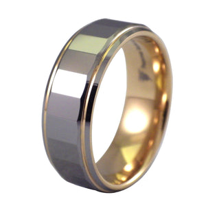 Rectangle Faceted Men's Tungsten Ring - 8MM Wedding Band