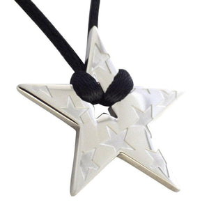 Retro 80's Superstar Necklace Womens Stainless Steel Star Pendant