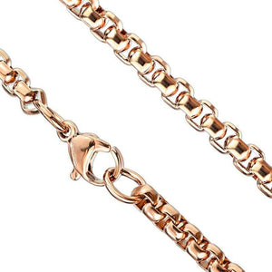 Rose Gold Round Box Chain Necklace Stainless Steel Rolo 2.4mm