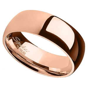 Rose Gold Titanium Ring - Men's and Women's 6mm Domed Wedding Band