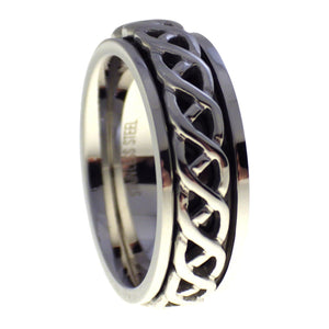 Silver Celtic Knot Spinner Stainless Steel Ring