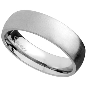 Simple Titanium Ring Classic Domed Silver Wedding Band 6mm