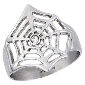 Spider Web Ring Womens Silver Stainless Steel Gothic Band