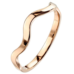 Stackable Rose Gold Stainless Steel Elemental Wave Fashion Ring