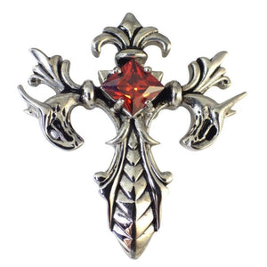 Stainless Steel Gothic Cross Pendant Red Stone Dragon Necklace