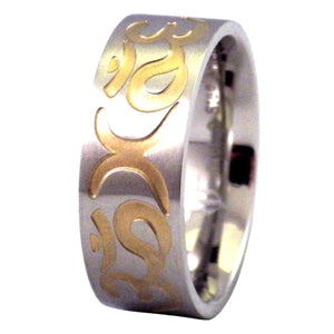 Stainless Steel Ring With Gold Aum and Crescent Moon Symbols