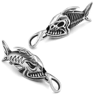 Surf Style Piranha Necklace Stainless Steel Nautical Fisherman Fishbones Pendant