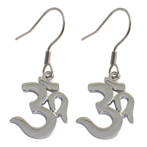Dangle Drop Surgical Steel Aum Earrings
