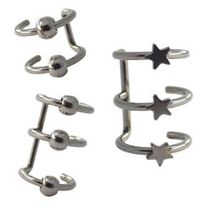 Surgical Steel Three-Piece Ear Cuff Earring Set