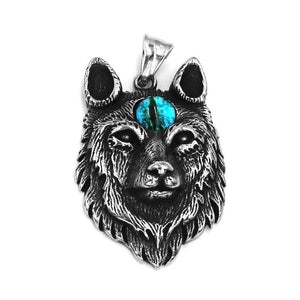 Three Eyed Wolf Necklace Stainless Steel All Seeing Eye K9 Pendant
