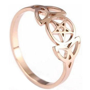 Triple Goddess Ring Rose Gold Stainless Steel Star Crescent Moon Band