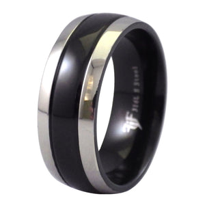Two-Tone Black and Stainless Steel Ring