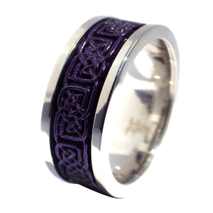Two-Tone Deep Purple Celtic Knot Stainless Steel Spinner Ring