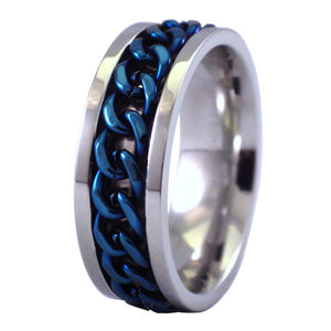 Two-Tone Electric Blue Chain Stainless Steel Spinner Ring