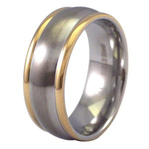 Two-Tone Gold Edged Convex Wedding Band - Stainless Steel Ring