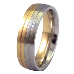 Two-Tone Half Gold and Half Stainless Steel Ring - Wedding Band