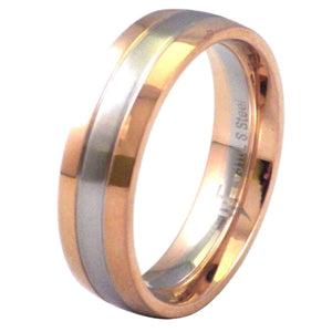 Two-Tone Rose Gold and Stainless Steel Wedding Band